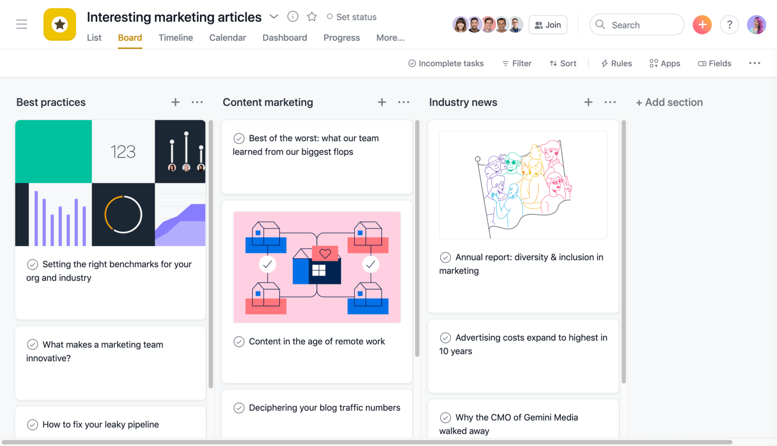SCREENSHOT of an Interesting Articles project in Asana