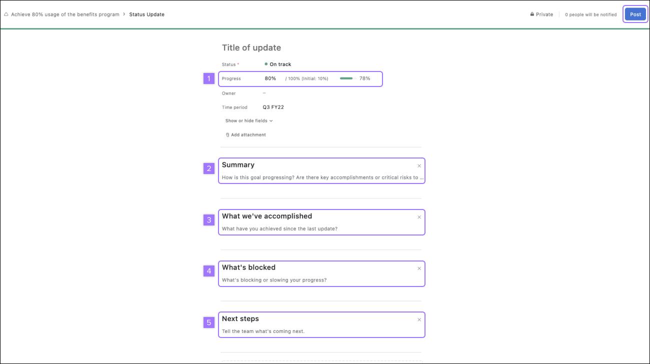 Capture d'écran montrant des options de statut supplémentaires