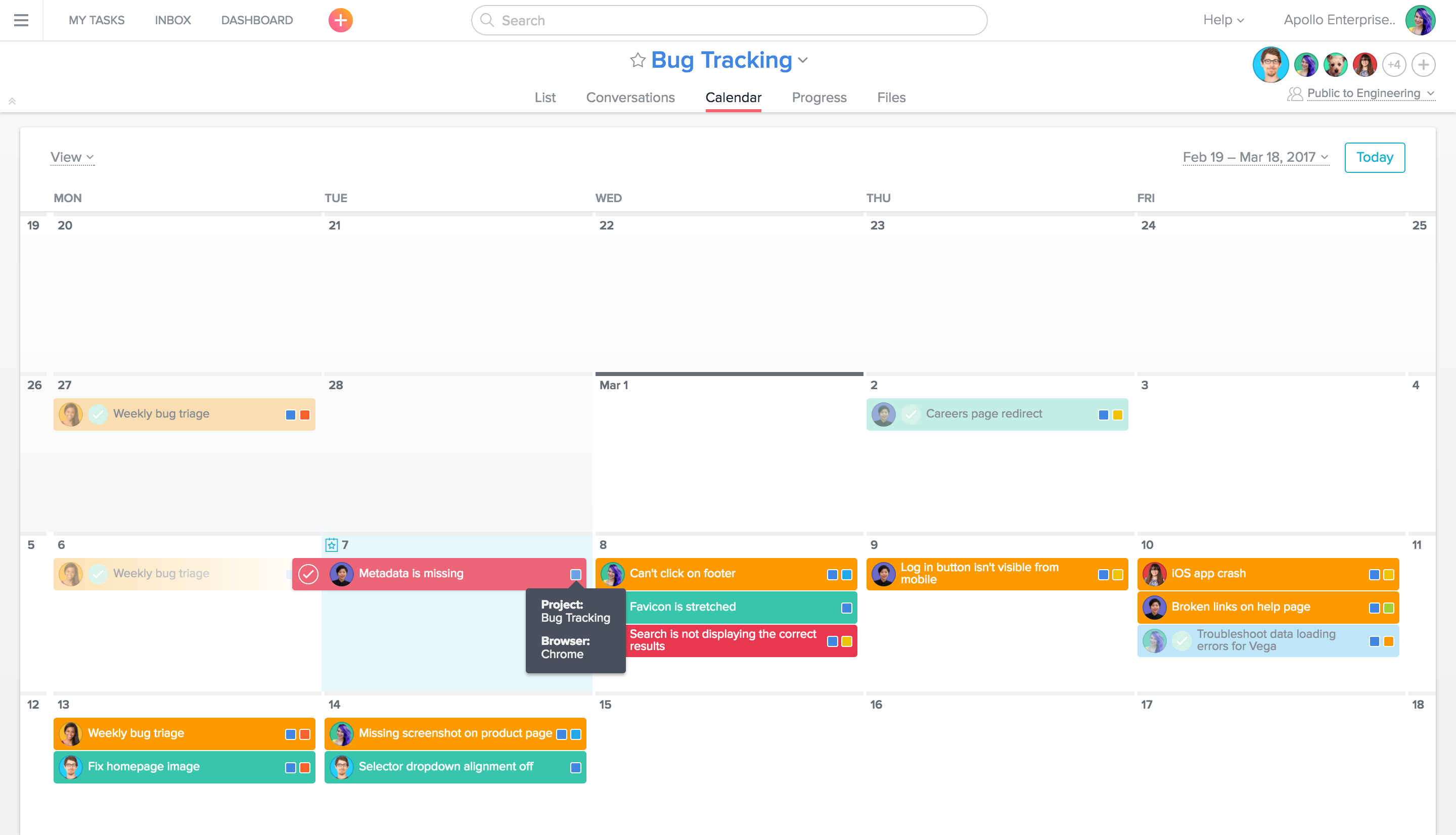 See custom field values by hovering over them in Calendar View of Asana