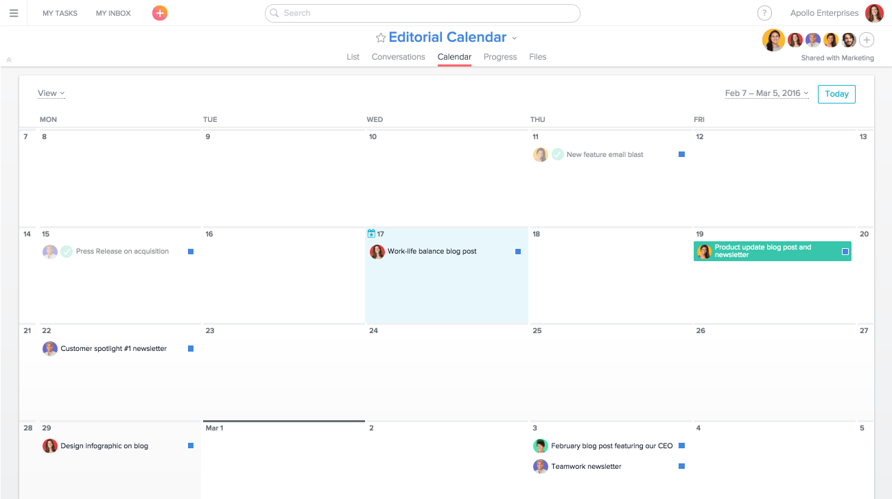 An editorial calendar pipeline built out on Asana in list view