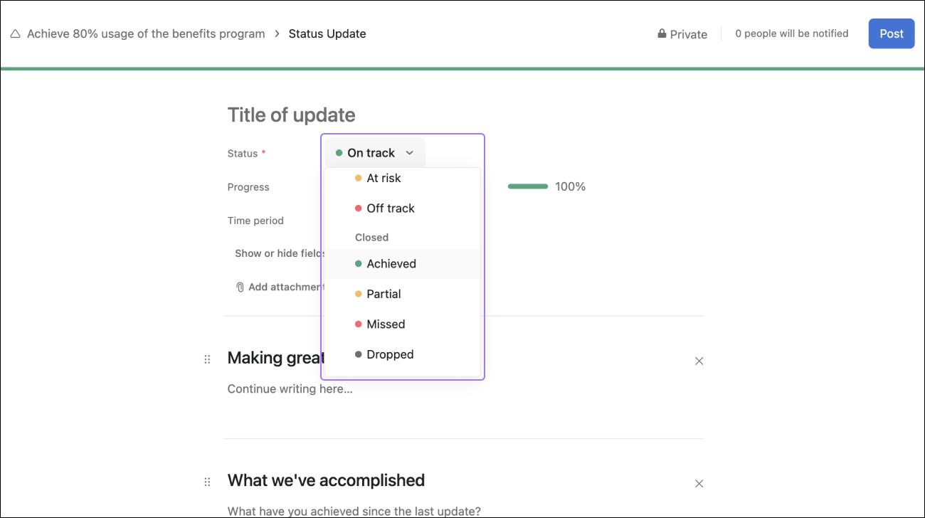 Capture d'écran montrant les options pour définir le statut d'un objectif clôturé