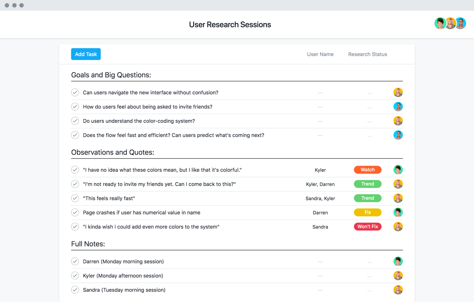 User research project template
