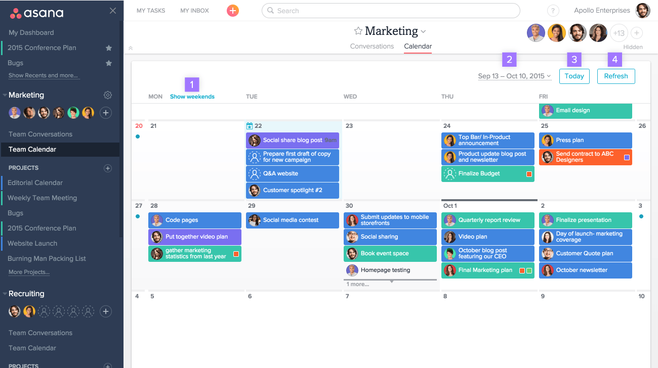 Team calendars & conversations | Product guide · Asana