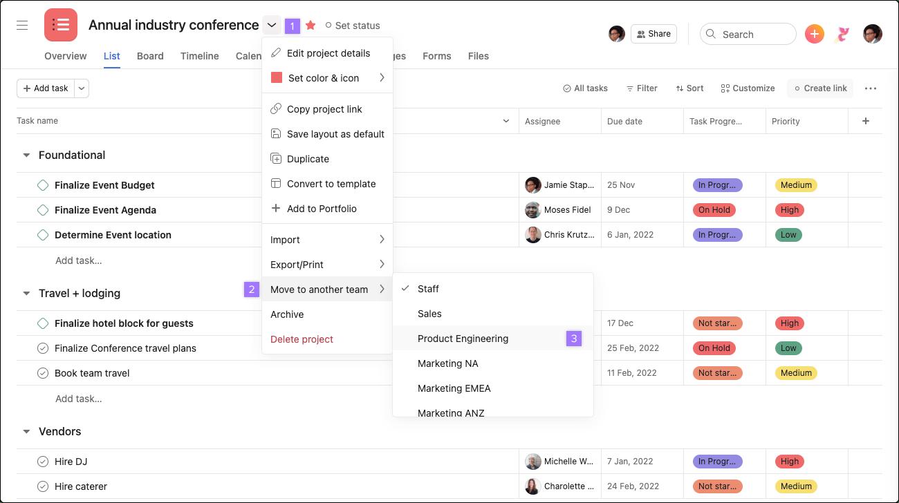 Projekt in ein anderes Team verschieben