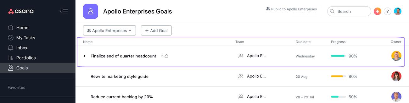 edit goal
