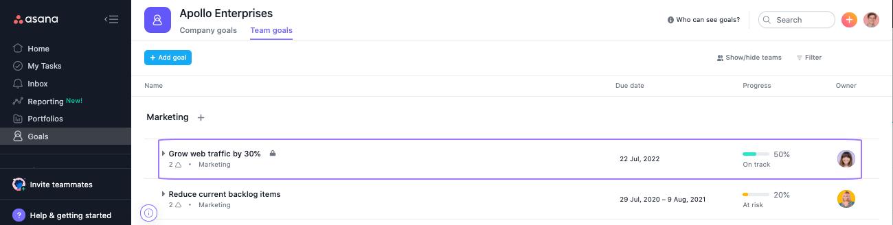 editar un objetivo existente 1