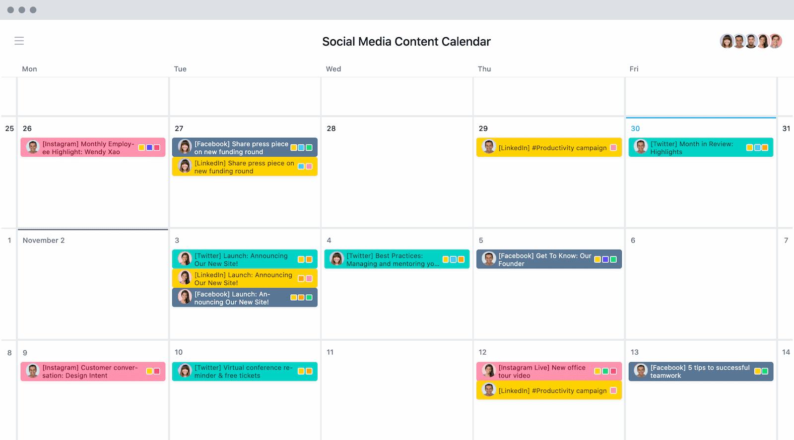 Content-Kalender für Social Media