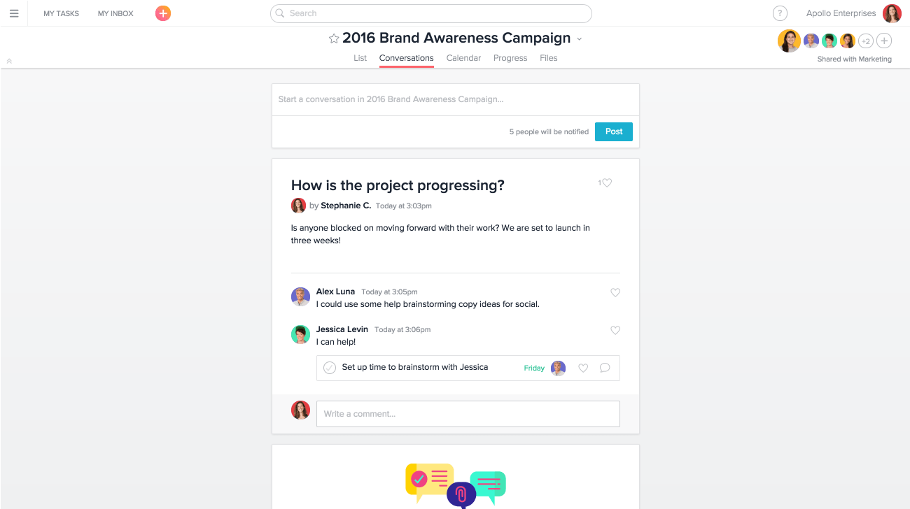 Brand Awareness Campaign project conversation