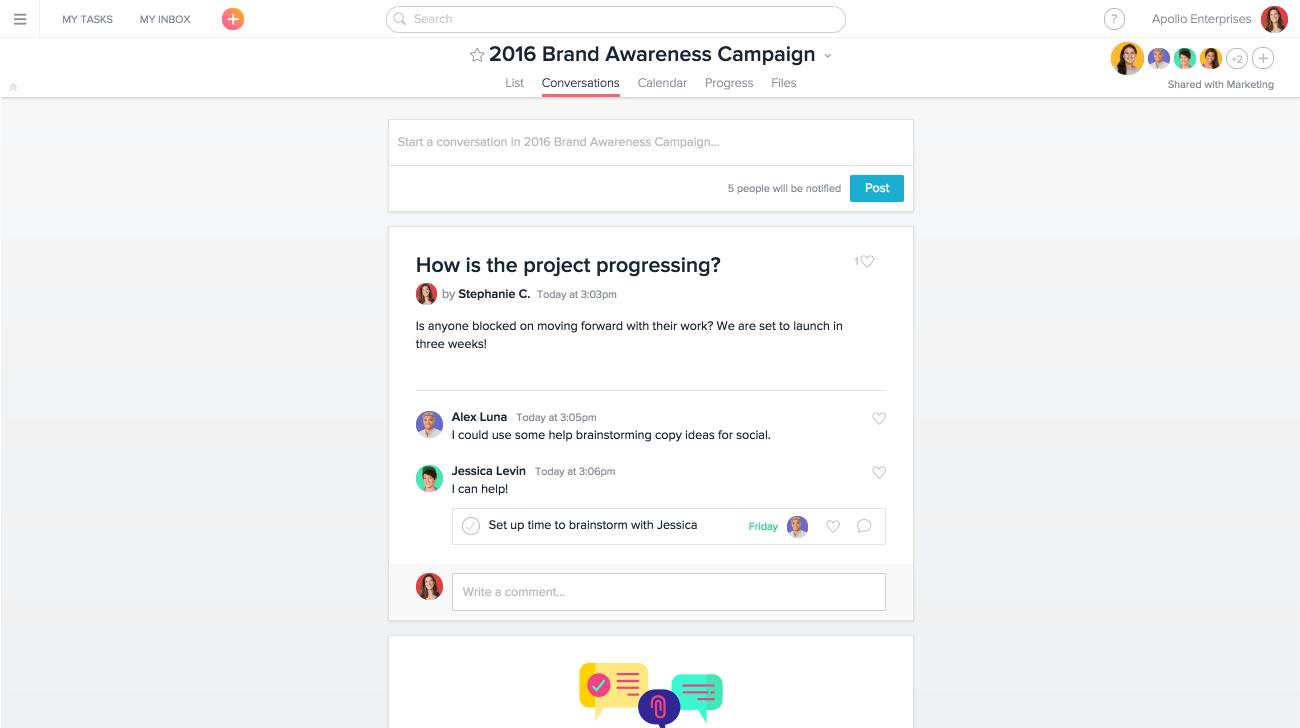 Discussion de projet dans le cadre d'une campagne de promotion de la marque