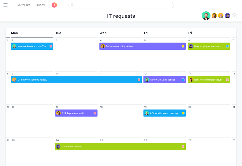 Example of project calendar