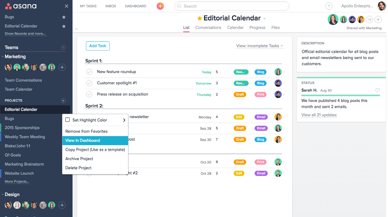 asana dashboard smartsheet alternative