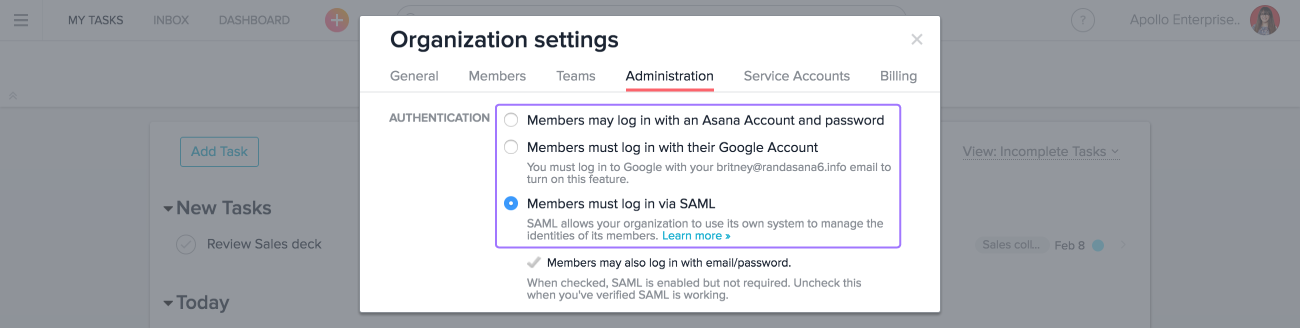 IT and admins can use a SAML login configuration