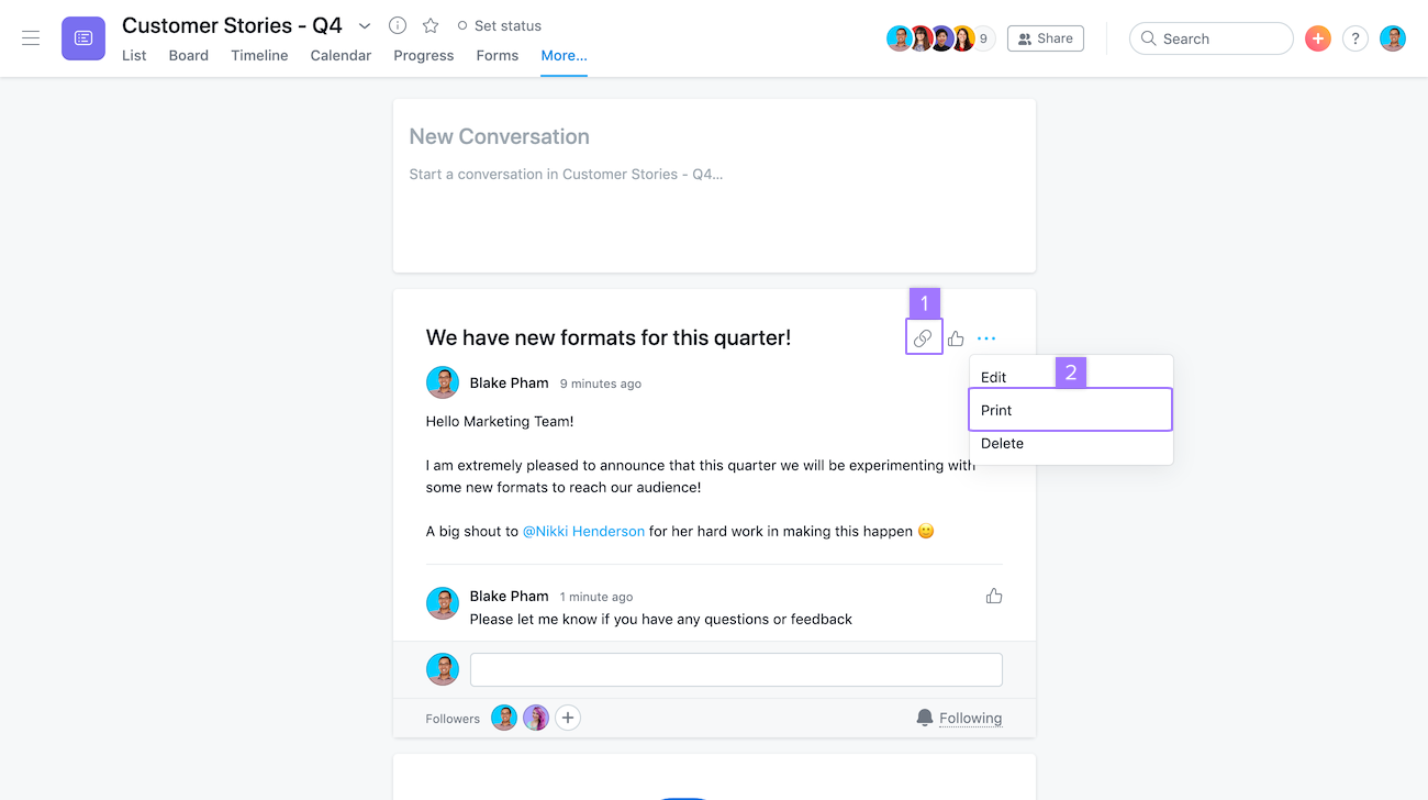 Screenshot with focus on options to print and get link of a conversation