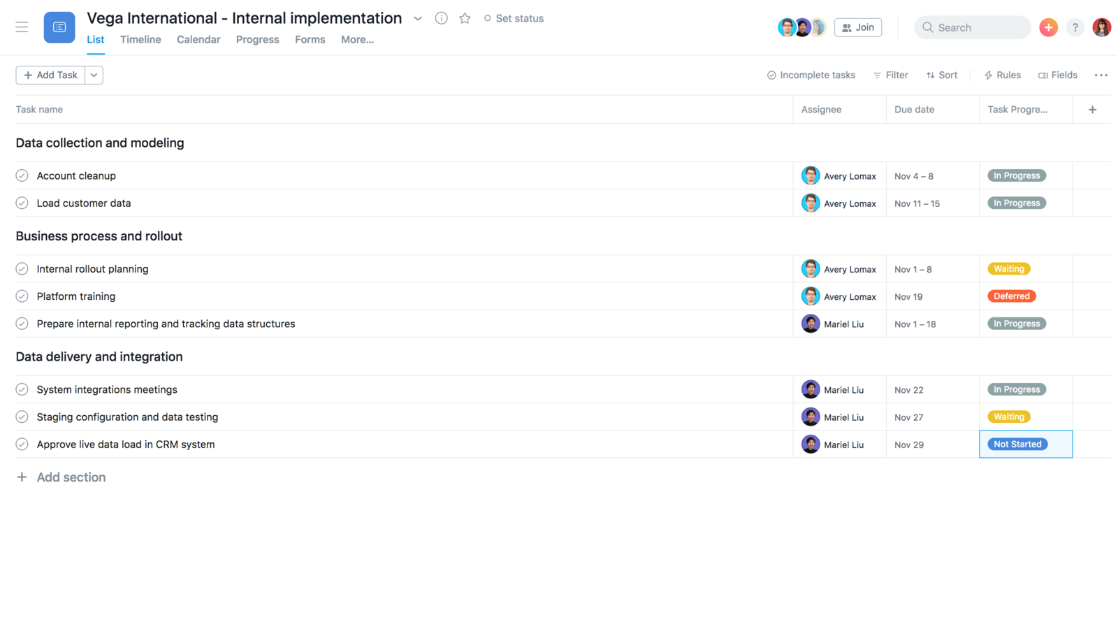 Create an internal implementation template in Asana to duplicate