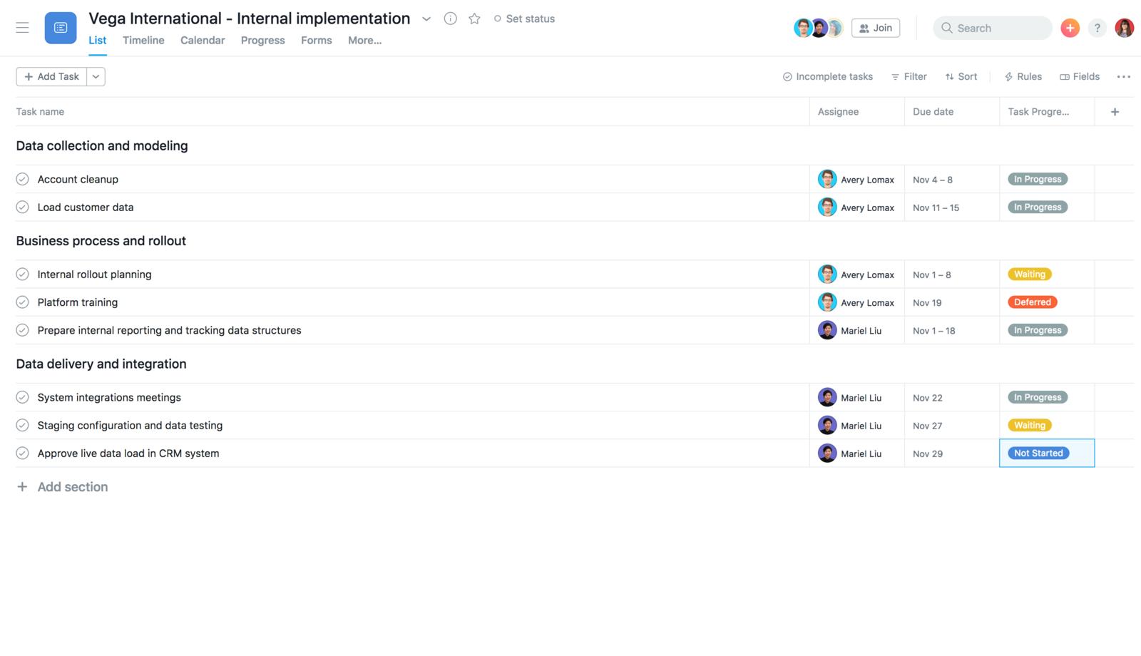 Crea una plantilla de implementación interna en Asana para duplicar