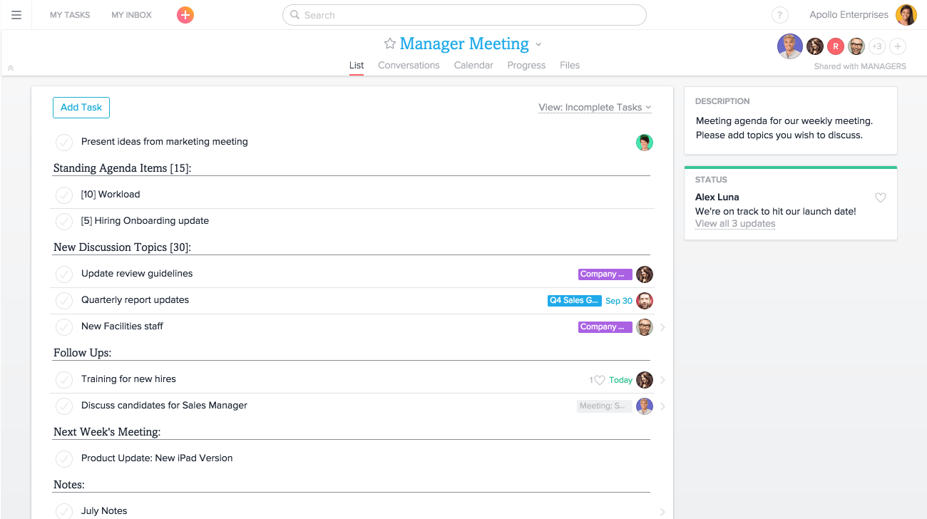 Using Asana for meetings – One on One Meeting Agenda Template