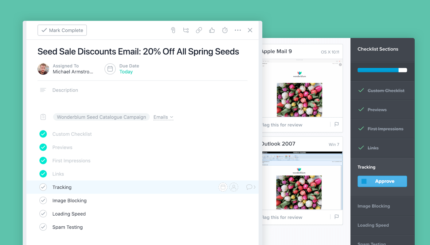 Captura de pantalla de la integración entre Litmus y Asana para la producción de emails de marketing