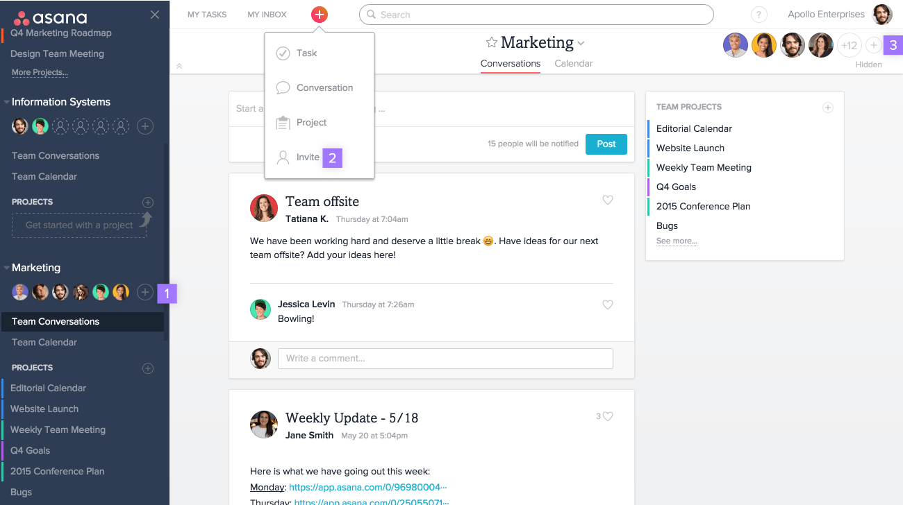 There are several ways to invite teammates to Asana