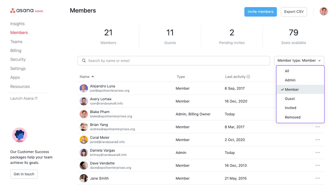 filtrar por tipo de miembro