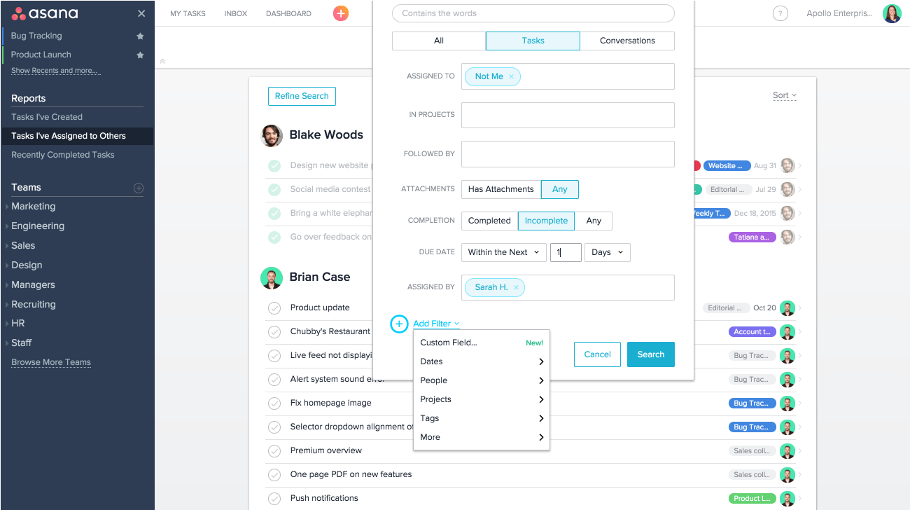 Use Advanced Search in Asana to generate reports