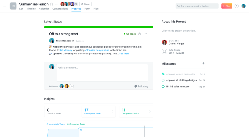 SCREENSHOT status update post in Asana Progress View with @mentioned tasks and stakeholders