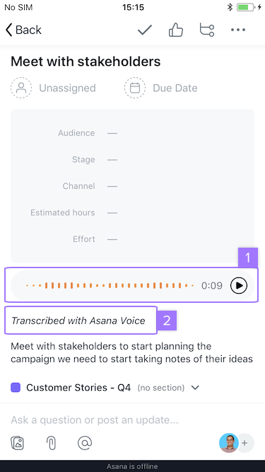 Screenshot with focus on options available for task created via voice recognition