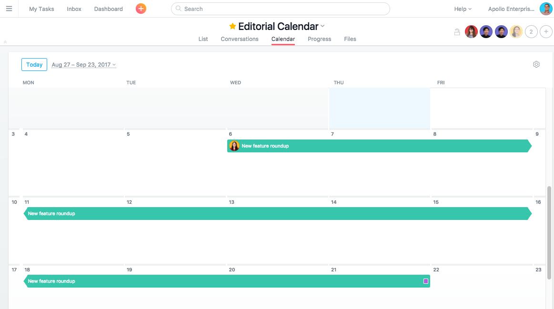 calendario de tareas multi-día