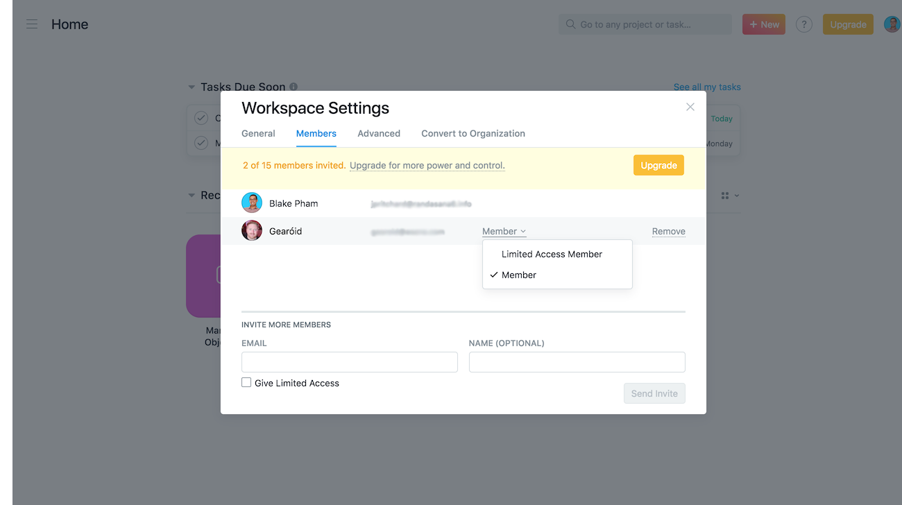 workspace settings members tab