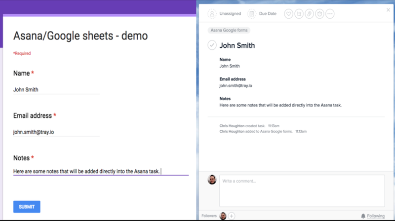 google forms et asana