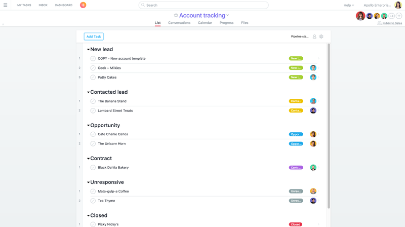 Sales and customer success teams can use Asana for account tracking