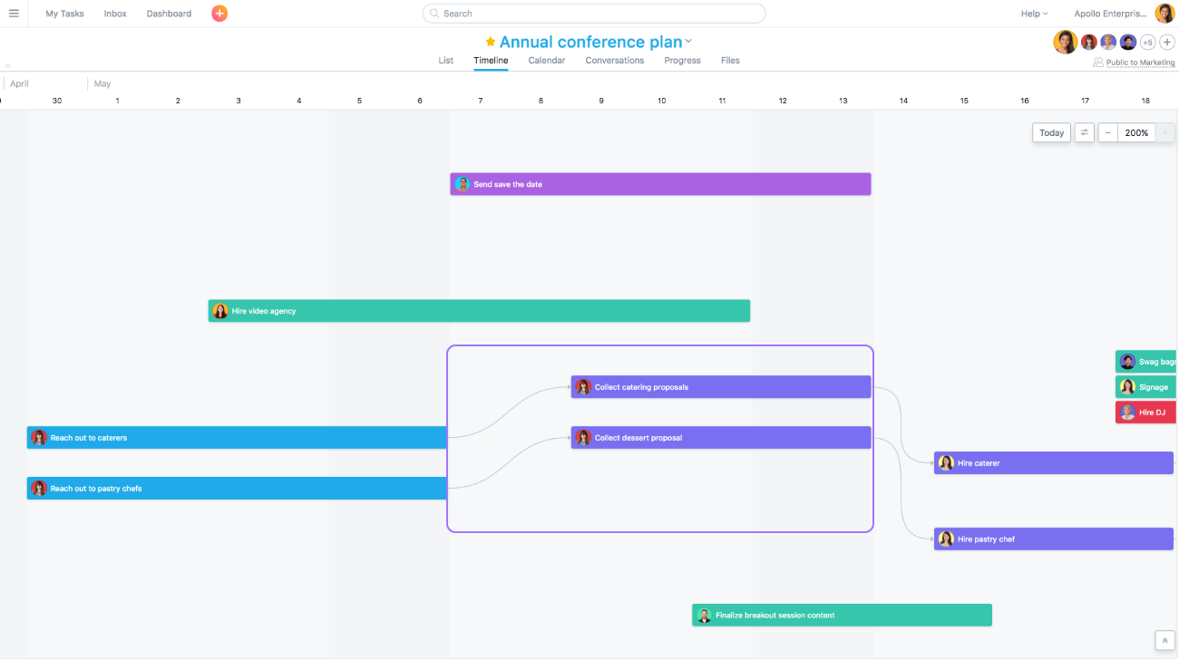 Assign tasks, due dates, and organize your project; then, use Timeline for a Gantt-style view to help you plan and visualize each step in your project