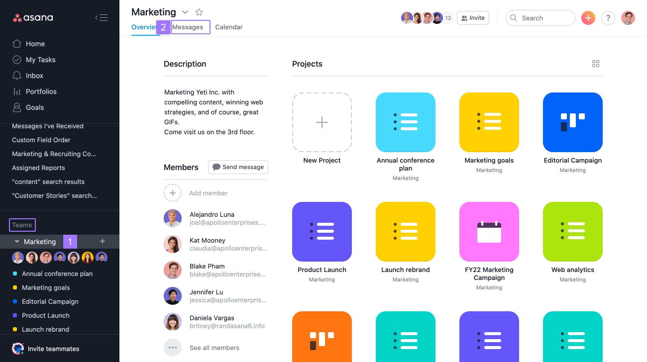 access team messages