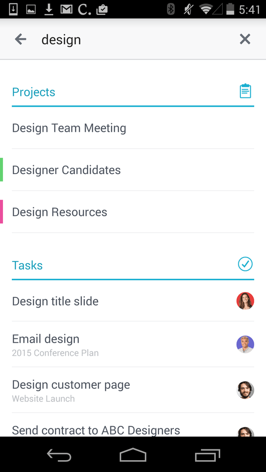 Search for Asana tasks, projects, and conversations on Android