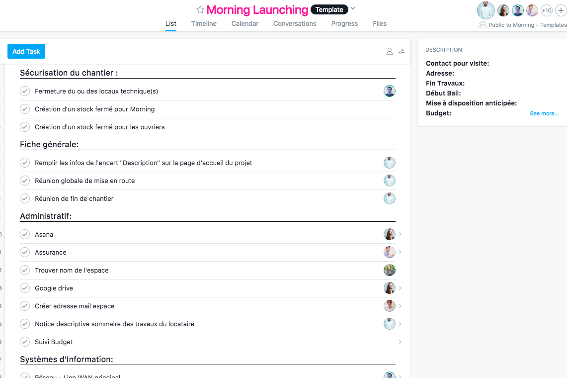Morning Coworking's Asana template for launching a new space
