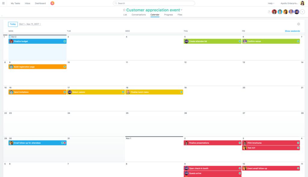 Event project calendar
