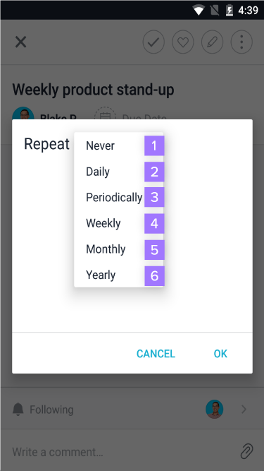 Set task to repeat - options