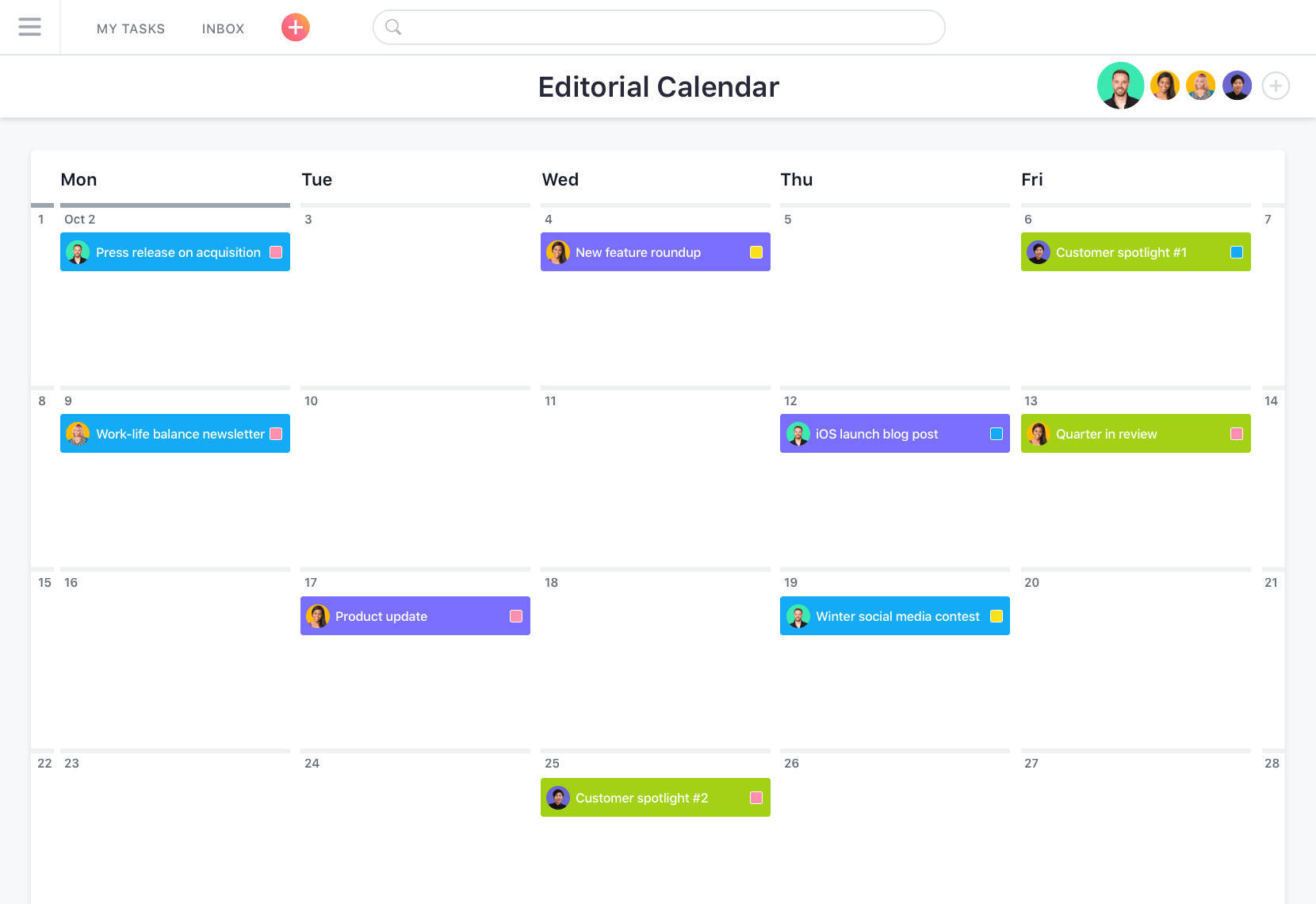 Editorial calendar example in Asana