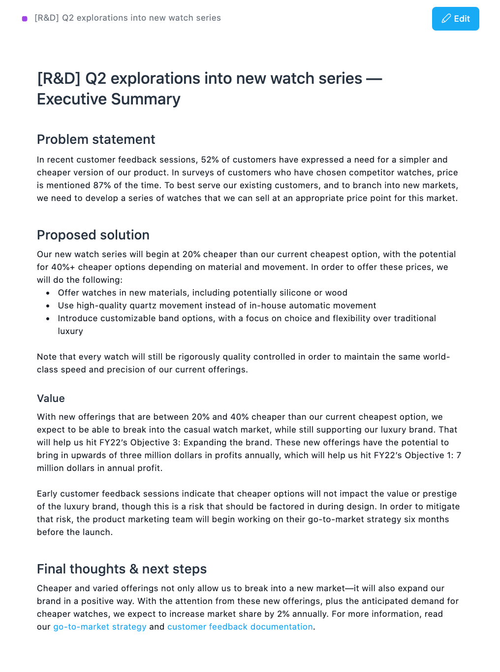 Example executive summary in Asana