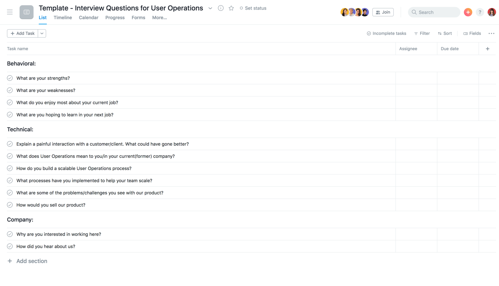 Interview Questions project in Asana