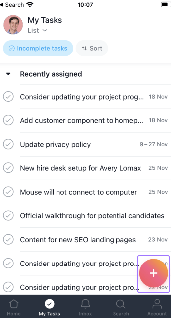 add task from my tasks