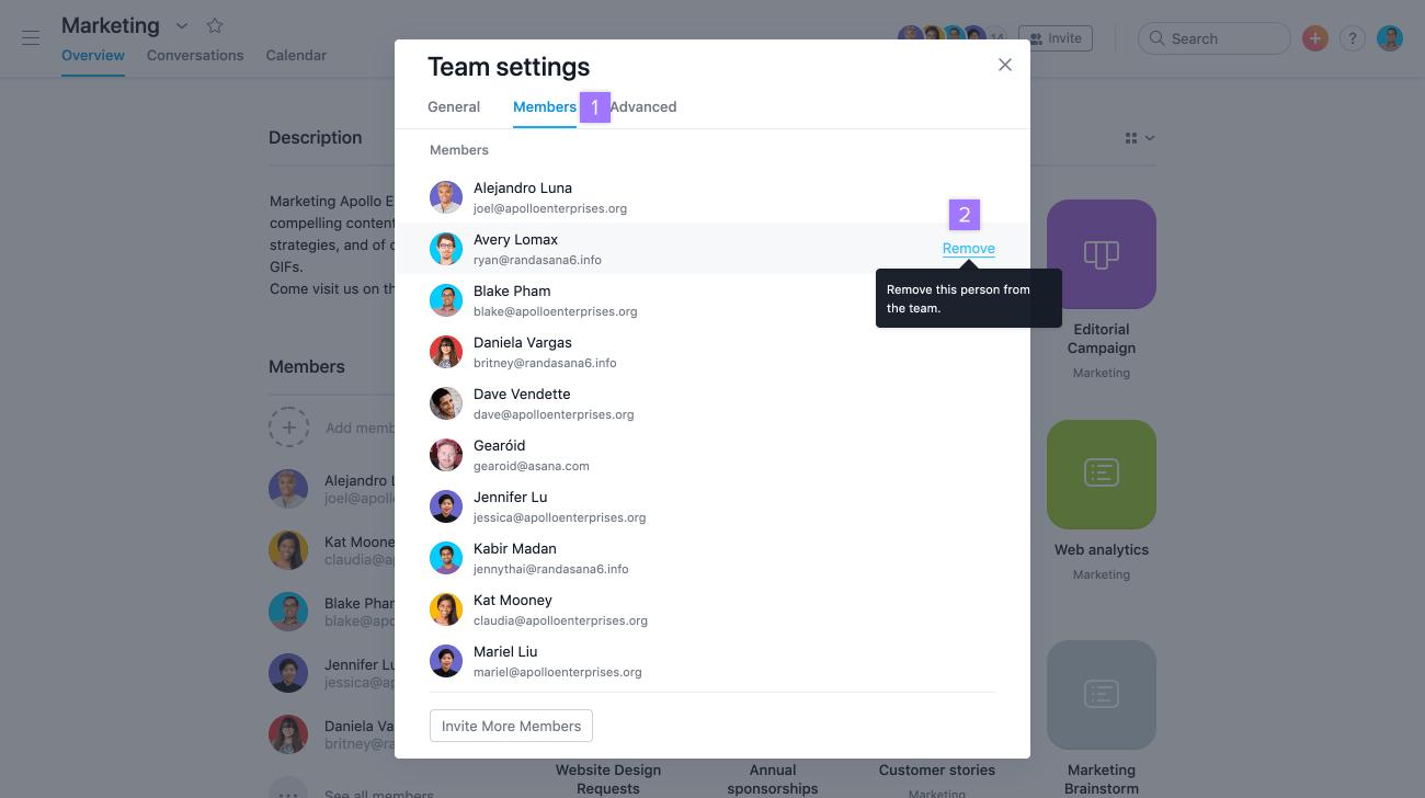 remover de uma equipe