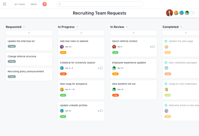 Create a kanban board online to manage projects · Asana