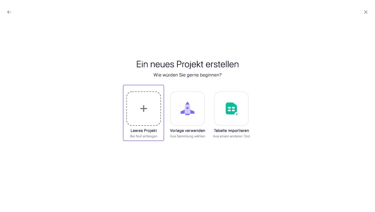 Ein Projekt erstellen 2