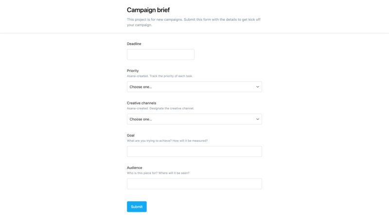 Screenshot of a form created with Asana to submit a creative brief