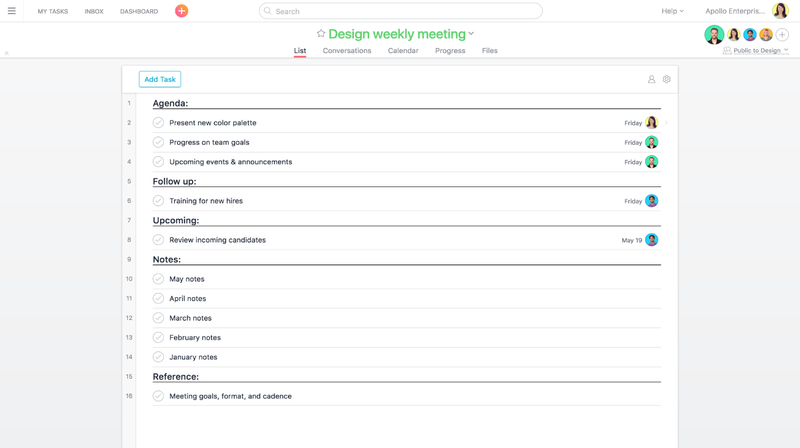 Using Asana For Meetings Product Guide 183 Asana