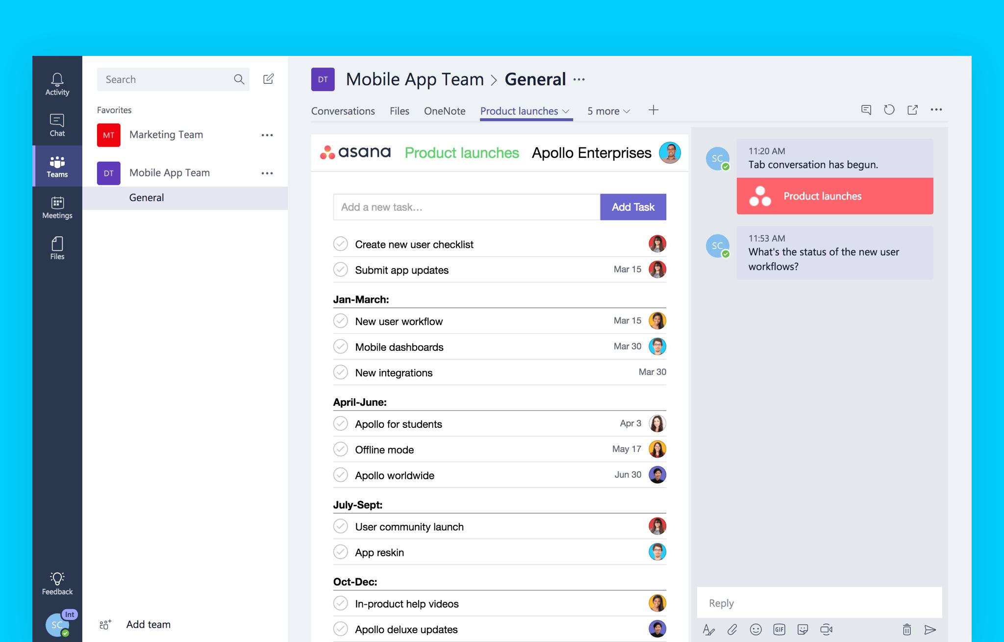 calendar in teams microsoft