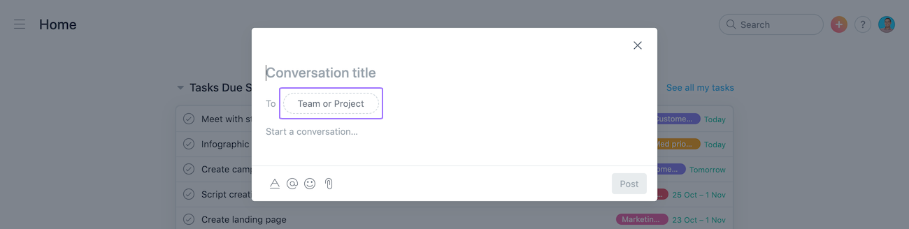 Captura de pantalla centrada en la opción para seleccionar Equipo o proyecto para la Conversación