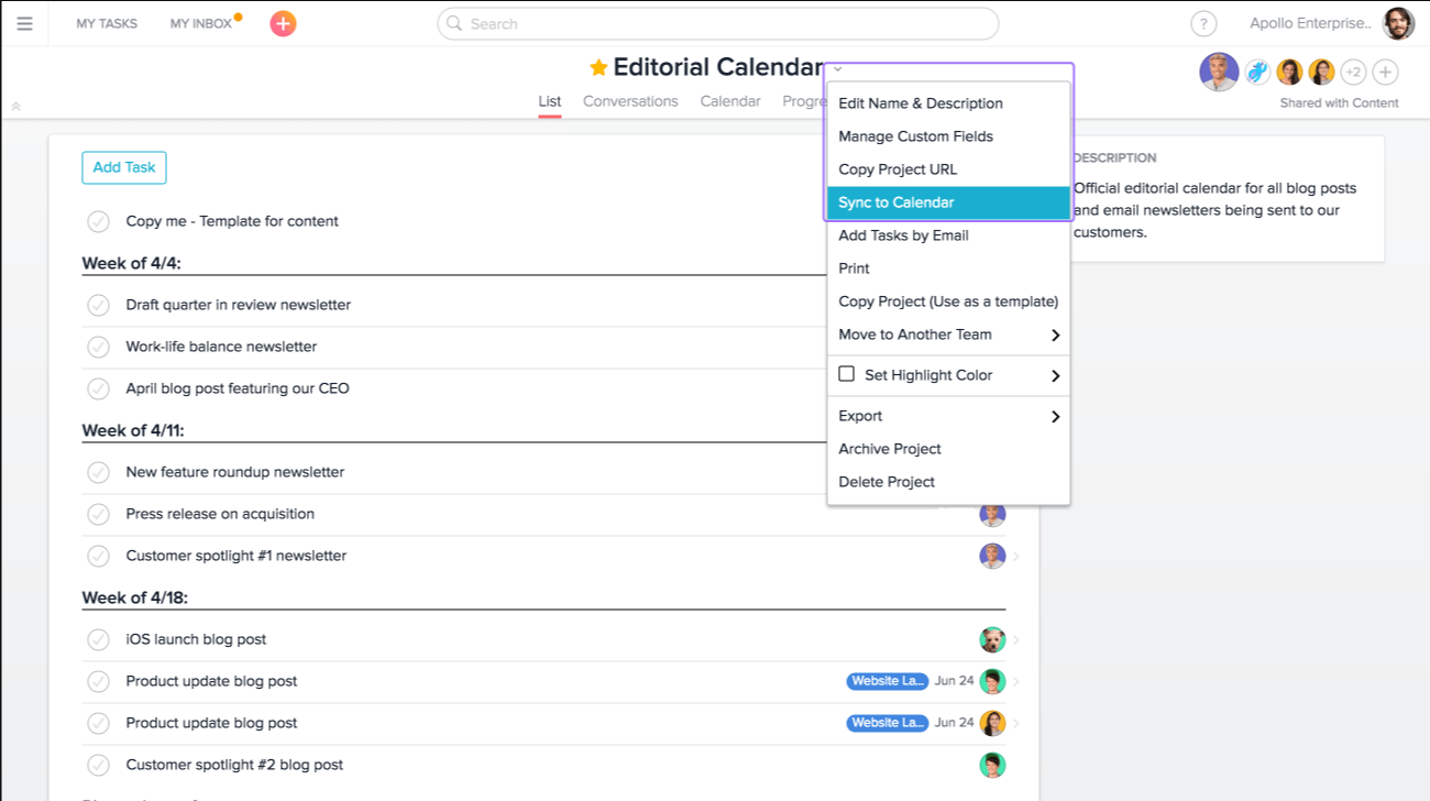 Sync Google Calendar with Asana in the project actions dropdown menu