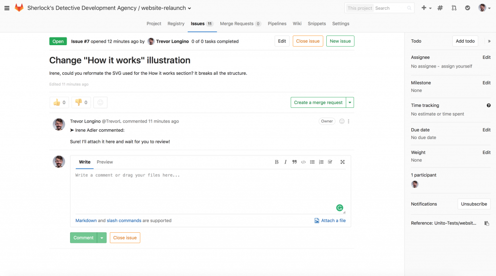 gitlab close issue with commit