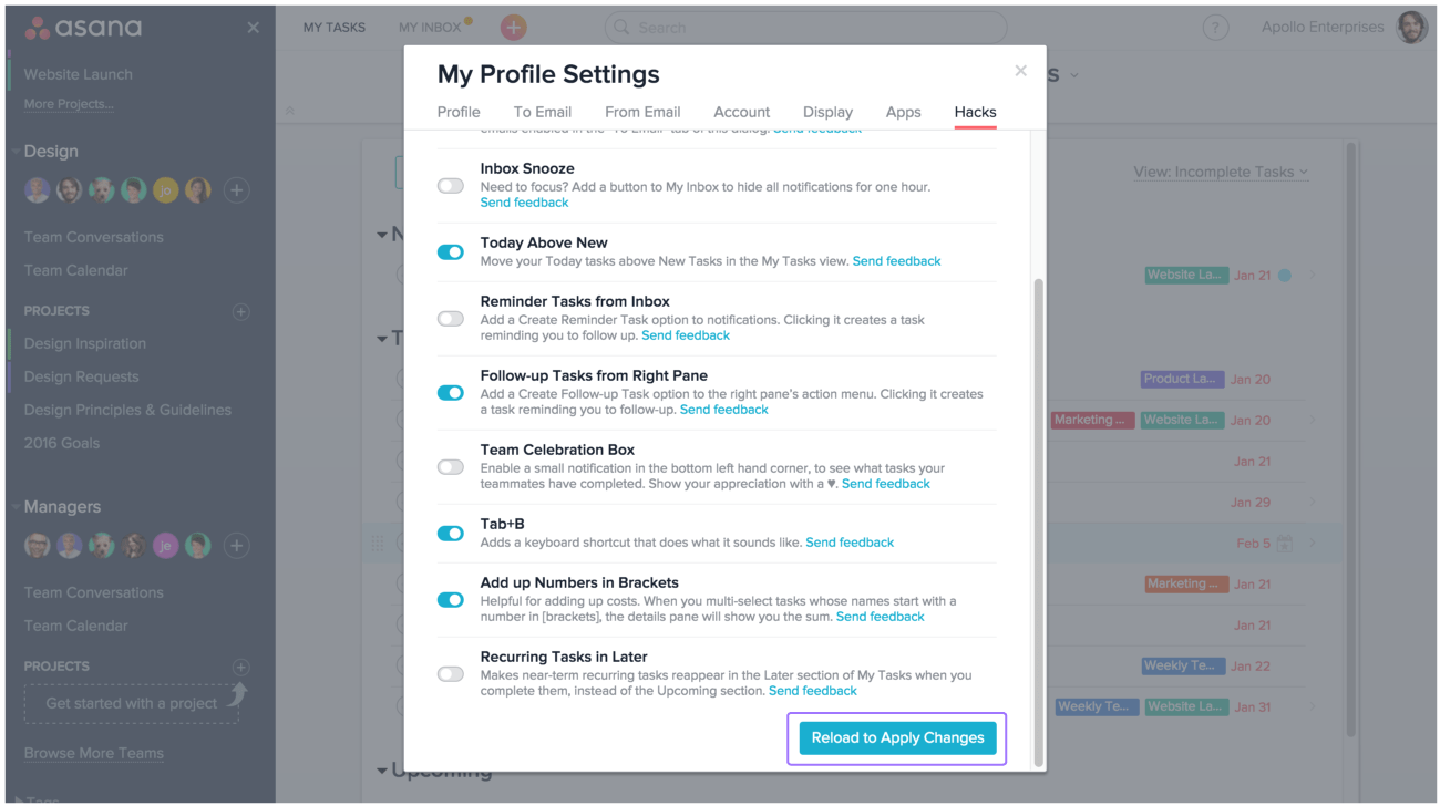 how to find workspace setting in asana